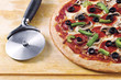 pizza with pizza cutter