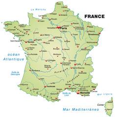 Übersichtskarte von Frankreich mit Hauptstädten