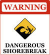 Dangerous shorebreak warning sign.