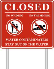 Beach Closed: NO swimming and NO Wading