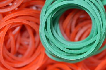 close up of colourful rubber bands - green&red