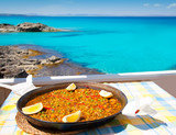 Paella mediterranean rice food in balearic islands