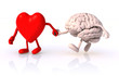 canvas print picture - heart and brain that walk hand in hand