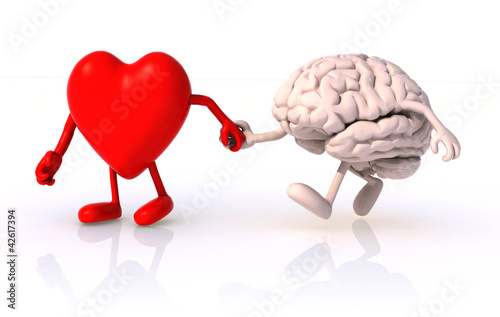 Foto op Aluminium Ontspanning heart and brain that walk hand in hand