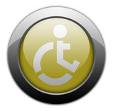 "Yellow Metallic Orb Button ""Wheelchair Accessible"""