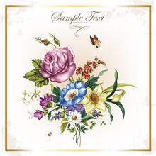 Carte postale de cru avec de belles fleurs