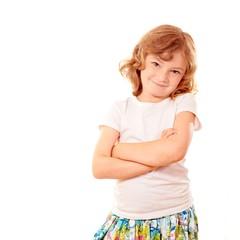 Kleine Dame vor weissem Hintergrund