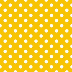 Polka dots on yellow background retro seamless vector pattern