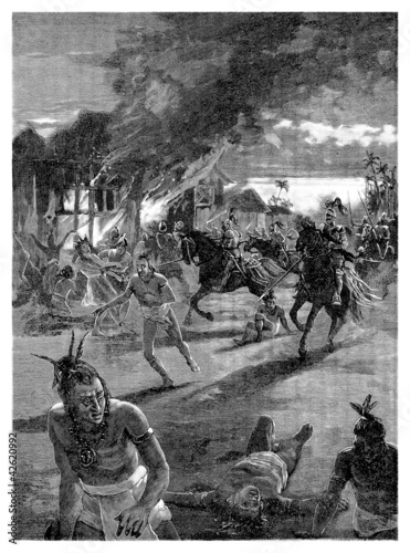 Conquistadors killing Indians - 15th-16th century
