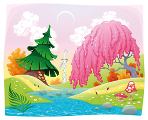 Fantasy landscape on the riverside. Vector illustration.