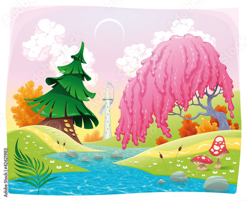 Staande foto Magische wereld Fantasy landscape on the riverside. Vector illustration.