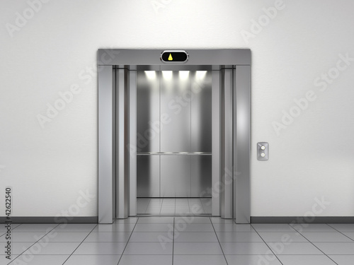 Modern elevator with open doors - 42622540