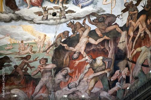 Leinwanddruck Bild Florence - Duomo .The Last Judgement. Inside the cupola