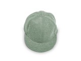 A green baseball cap is isolated on a white background