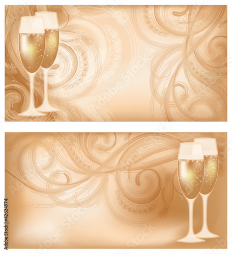 Set two wedding banners with champagne, vector illustration