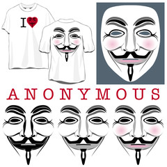 Anonymous Faces in Black, Color and T-shirts
