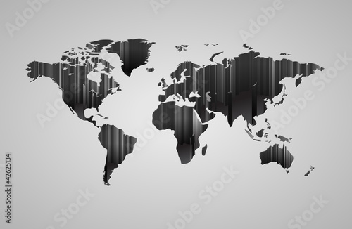 Poster Wereldkaart World map with 3d-effect