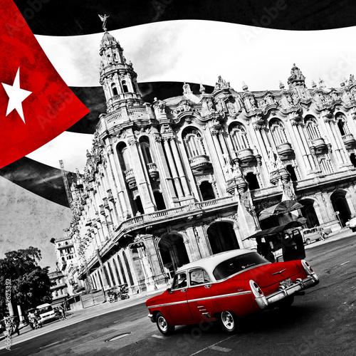 Fotobehang Rood, zwart, wit Cuba (n&b)