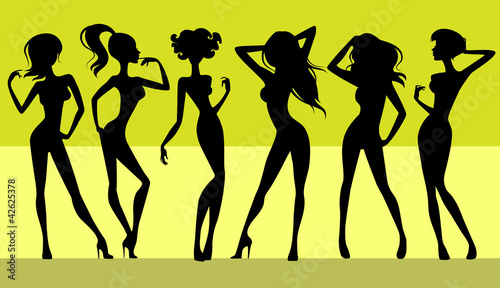 Six girls silhouettes