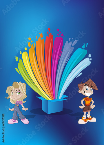 Kids in front of colorful paint splashing out of a blue box