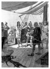 Conquistador invites Indians on Board - 15th century