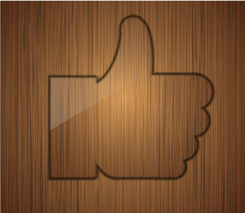 wooden thumbs up. Business background design.