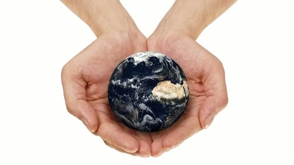Earth in Hands rotating on white background ( repeatable )