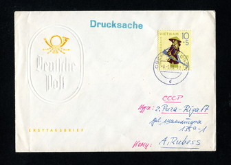 "Vintage german first day cover ""Vietnam war"""