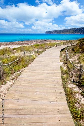 Balearic Formentera island wood beach way