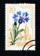 "Canceled romanian stamp ""Centaurea pinnatifida"""