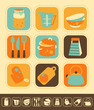 Set of kitchen icons, color and monochrome version