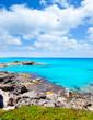 Balearic formentera island in escalo rocky beach