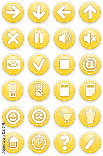 Set of icons. Pictograms of yellow color.