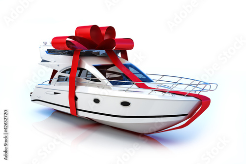 The big gift, Boat with red bow