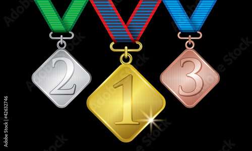 Awards as medals - gold, silver and bronze