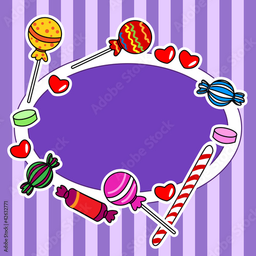Candy billboard or sign in purple colors