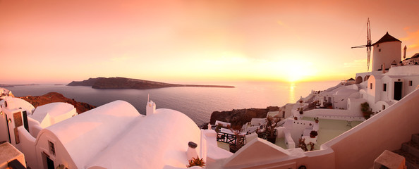 Panorama of Santorini with windmills and sea-view in Greece