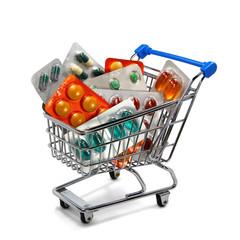 Einkaufswagen mit Medikamenten