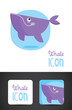 Vector whale icon such logo with business card template