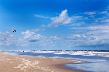 kitesurfing close to beach