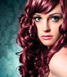 portrait of beautiful lady with red curly hair / haircolors-12