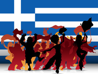Greece Sport Fan Crowd with Flag