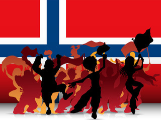Norway Sport Fan Crowd with Flag