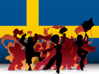 Sweden Sport Fan Crowd with Flag