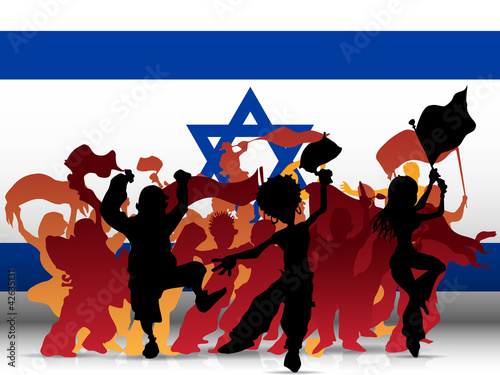 Israel Sport Fan Crowd with Flag
