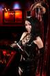 Sexy Cabaret Nightclub - Glamorous Hostess opening Champagne Bot