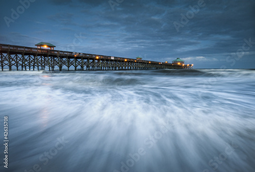 Moonlight Folly Beach Pier Charleston SC East Coast Ocean
