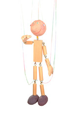 Wooden puppet isolated on white