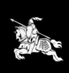 Abstract image of a stylised knight in armour