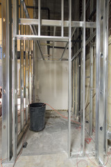Metal Stud Framing in Construction Site